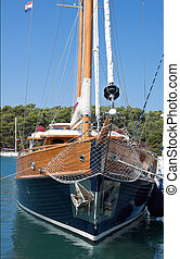 Wooden prow - prow of wooden sailboat - front view