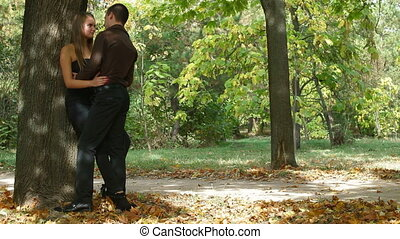 Loving couple in the autumn