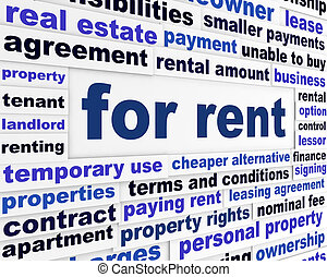 For rent business words concept. Housing market creative...