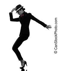 stylish woman dancer dancing silhouette - one caucasian...