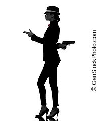 woman gun gangster killer silhouette - one stylish caucasian...
