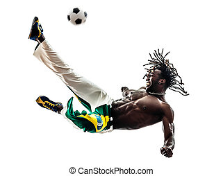 brazilian black man soccer player kicking football - one...