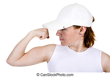 The strong girl in a cap