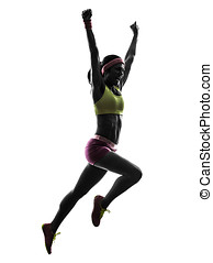 woman runner running jumping shouting silhouette - one...