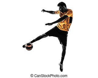 young man soccer player  silhouette