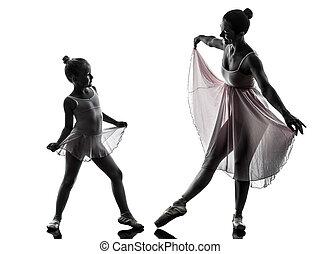 bailarina, poco, mujer, silueta, bailando, ballet, bailarín,...
