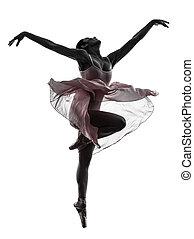 femme, ballerine, ballet, danseur, danse, silhouette