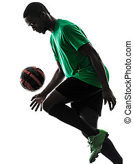african man soccer player  juggling silhouette