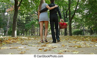 Couple walking with basket - Young couple walking embraced...