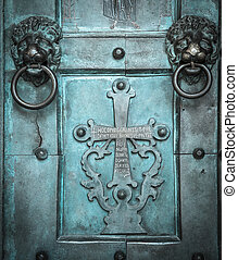 Holy Cross, old, door, Amalfi Cathedral, Italy. - Holy...