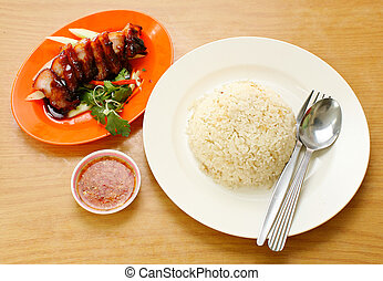 BBQ Pork and Crispy Pork with Rice - pork BBQ Pork and...