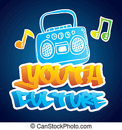 youth culture over blue background vector illustration