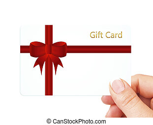 hand holding gift card isolated over white