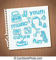 youth culture - youth culture design over wooden background...