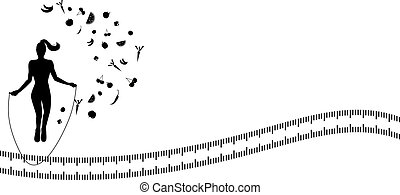 Silhouette background with jump rop