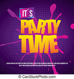 party time over dotted background vector illustration