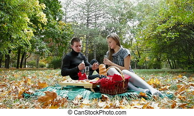 picnic in autumn park - Young couple celebrating together...