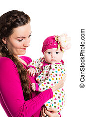 Happy mom and child girl hugging isolate on white...
