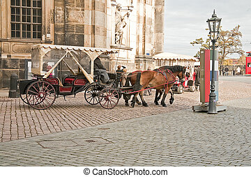 On the street in Dresden - Horsedrawn carriage in the street...