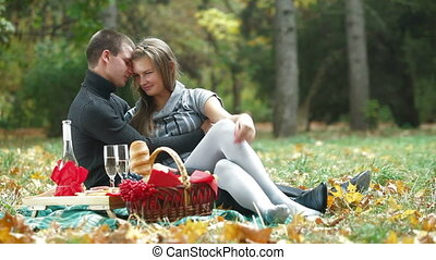warm autumn day on a picnic - Young loving couple enjoying a...