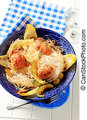 Cellophane noodles with meatballs