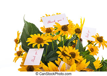 bouquet of sunflowers and gratitude on a white background