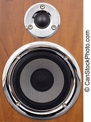 Speakers on a wooden surface - Two dynamics of different...
