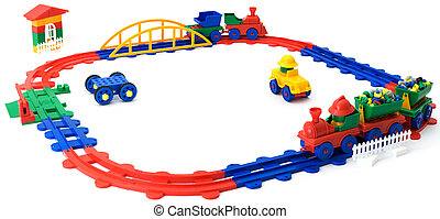 Plastic colour railway on a white background - The...