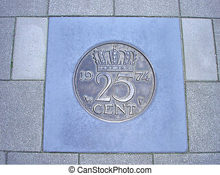 centavos, pavimento, Veinticinco, moneda