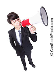 happy asian businessman using megaphone isolated on white...