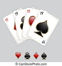 Playing cards, aces - Vector playing cards - set of aces