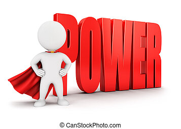 3d white people power, isolated white background, 3d image
