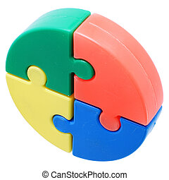 Puzzle pieces - Colorful puzzle pieces on a white background