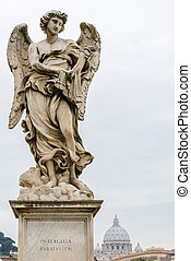 One of Bernini Angels on the ponte Sant'Angelo in Rome, Italy,
