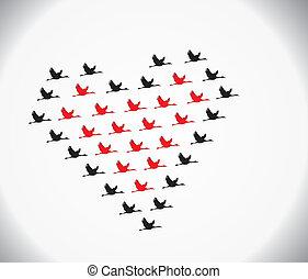 愛, 飛行, 空, 黒, 白鳥, 赤