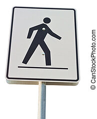 Pedestrian Crossing street sign on a metal pole