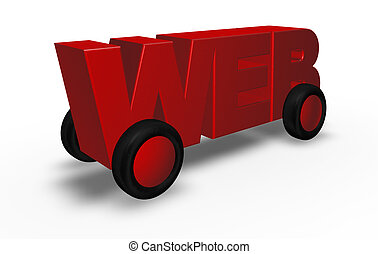 web on the road - web on wheels - 3d illustration