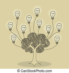 Tree of Ideas - Illustration of tree and light bulb idea...
