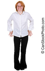 Confused woman standing on a white background