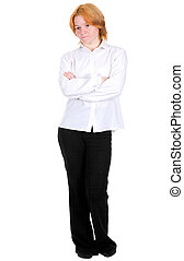 Girl standing on a white background