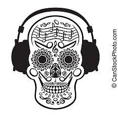 Music Skull - Funny design of a skull decorated with musical...