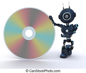 Android with DVD Disc - 3D Render of an Android with DVD...