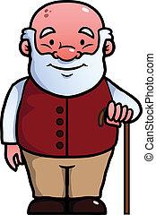 vieux, homme, tenue, canne