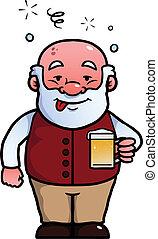 antigas, homem, sendo, bêbado