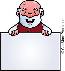 Old man holding a blank sign and smiling.