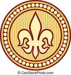 lily flower - heraldic symbol fleur de lis (lily element,...