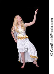 Athena goddess - one young Athena Goddess happy over black