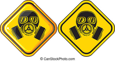 gas mask hazardous sign (gas mask warning sign, army gas...