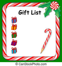Holiday Gift List - Christmas holiday gift list on...