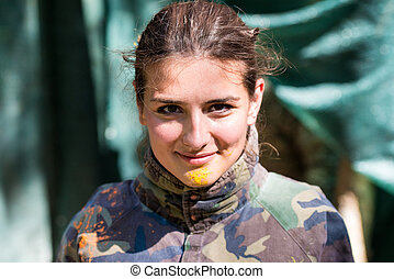 paintball player direct hit - Paintball sport player in...